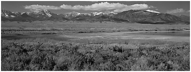 Sagebrush plain and Snake range rising above desert. Great Basin National Park (Panoramic black and white)
