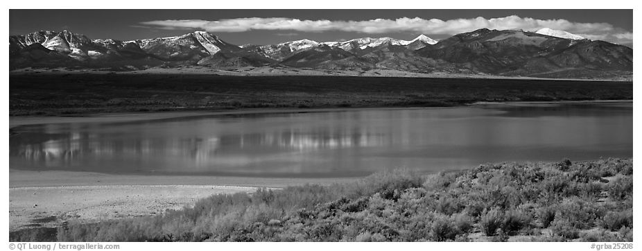Pond and Snake range. Great Basin National Park (black and white)