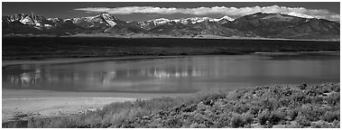 Pond and Snake range. Great Basin National Park (Panoramic black and white)
