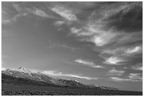 Wispy clouds over Snake Range. Great Basin National Park, Nevada, USA. (black and white)