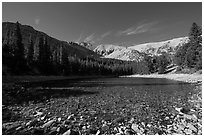 Snake range and Teresa Lake. Great Basin National Park, Nevada, USA. (black and white)