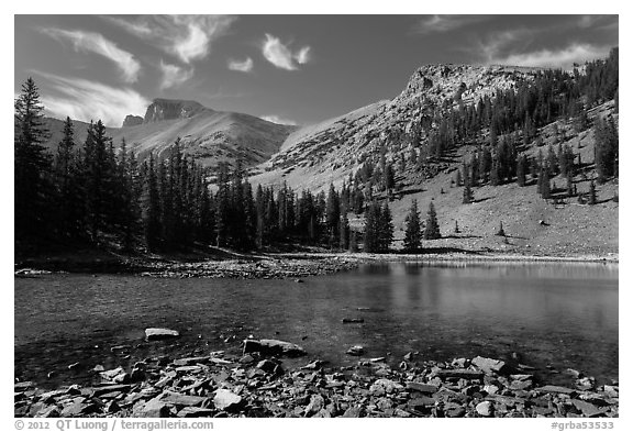 Mt Wheeler above Stella Lake. Great Basin National Park (black and white)