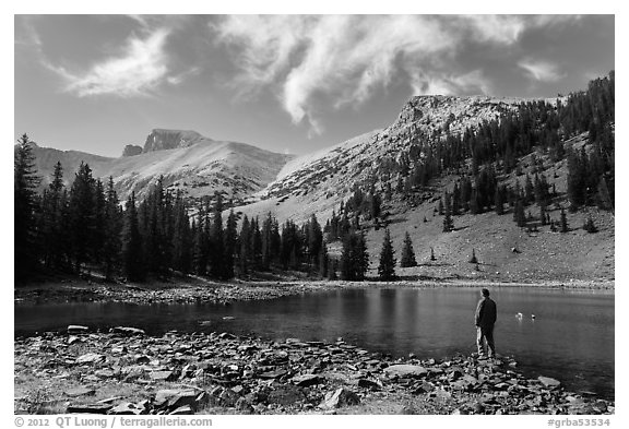 Visitor looking, Stella Lake. Great Basin National Park (black and white)