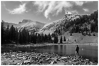 Visitor looking, Stella Lake. Great Basin National Park, Nevada, USA. (black and white)