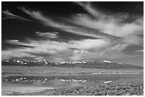 Snake Range seen from the East above a pond. Great Basin National Park ( black and white)