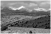 Fresh snow on the Snake range, seen from the foothills. Great Basin National Park ( black and white)