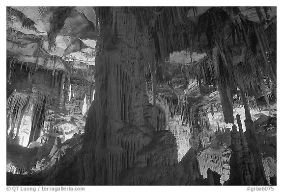Tall columns in Lehman Cave. Great Basin National Park (black and white)