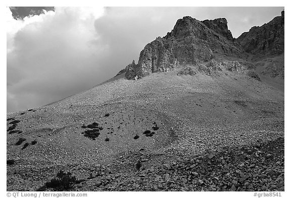 Peak, talus, and clouds. Great Basin National Park, Nevada, USA.