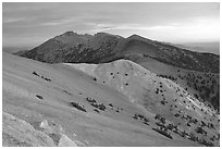 Wheeler Peak and Snake range seen from Mt Washington, dusk. Great Basin National Park ( black and white)