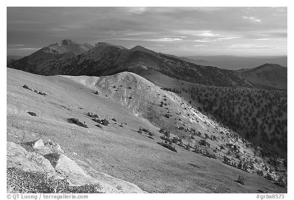 Wheeler Peak and Snake range seen from Mt Washington, sunrise. Great Basin National Park (black and white)