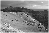 Wheeler Peak and Snake range seen from Mt Washington, sunrise. Great Basin National Park ( black and white)