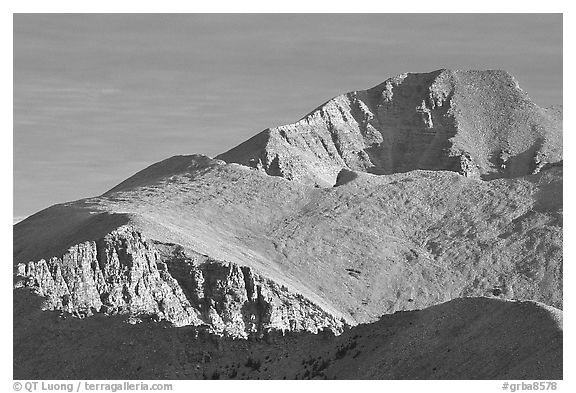 Wheeler Peak seen from the South, morning. Great Basin National Park (black and white)