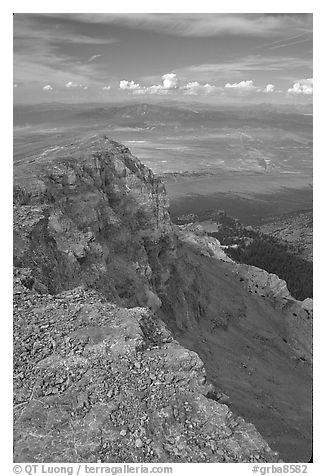 Cliffs beneath Mt Washington and Spring Valley, morning. Great Basin National Park (black and white)