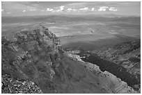 Cliffs below Mt Washington overlooking Spring Valley, morning. Great Basin National Park ( black and white)