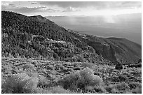 Sage covered slopes and Spring Valley. Great Basin National Park, Nevada, USA. (black and white)