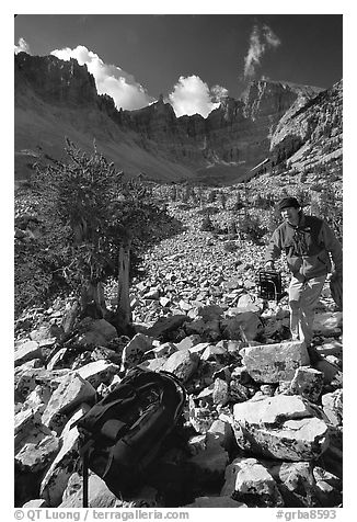 Photographer in Wheeler Peak cirque. Great Basin National Park (black and white)
