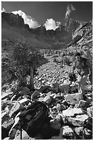 Photographer in Wheeler Peak cirque. Great Basin National Park ( black and white)