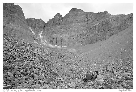 Hikers at the base of the North Face of Wheeler Peak. Great Basin National Park (black and white)