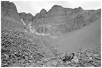 Hikers at the base of the North Face of Wheeler Peak. Great Basin National Park ( black and white)