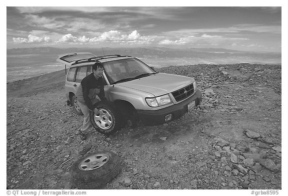 Flat tire on Mt Washington. Great Basin National Park (black and white)