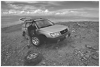 Flat tire on Mt Washington. Great Basin National Park ( black and white)