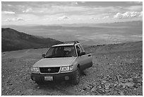 SUV on four wheel drive road on Mt Washington. Great Basin National Park, Nevada, USA. (black and white)