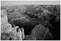 View from Yvapai Point, sunrise. Grand Canyon National Park, Arizona, USA. (black and white)