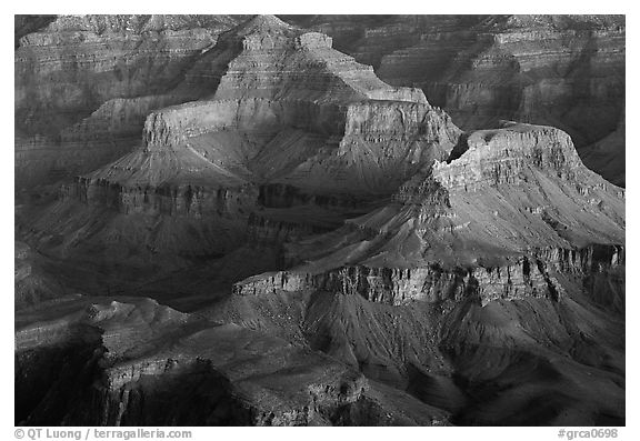 Temples at Dawn from Yvapai Point. Grand Canyon National Park (black and white)