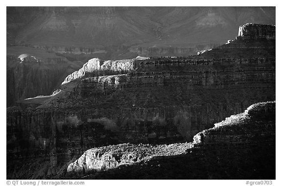 Ridges from Bright Angel Point, sunrise. Grand Canyon National Park (black and white)