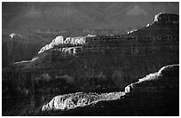 Ridges from Bright Angel Point, sunrise. Grand Canyon National Park, Arizona, USA. (black and white)