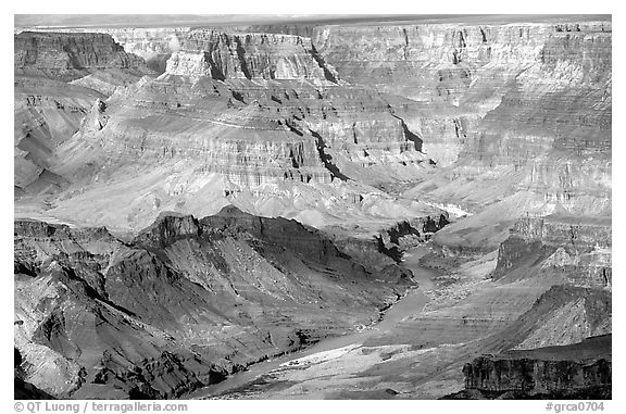 Colorado River from  South Rim. Grand Canyon National Park (black and white)