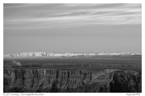 Painted Desert at sunset. Grand Canyon National Park (black and white)