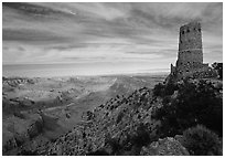 Watchtower, late afternoon. Grand Canyon National Park, Arizona, USA. (black and white)