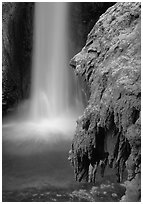 Rock and Mooney Falls, Havasu Canyon. Grand Canyon National Park, Arizona, USA. (black and white)
