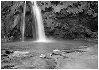 Travertine Terraces, Havasu Falls, Havasu Canyon. Grand Canyon National Park, Arizona, USA. (black and white)