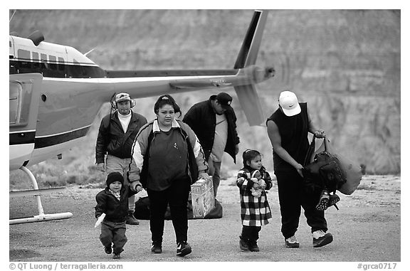 Havasu Indians commute by helicopter to roadless village. Grand Canyon National Park (black and white)