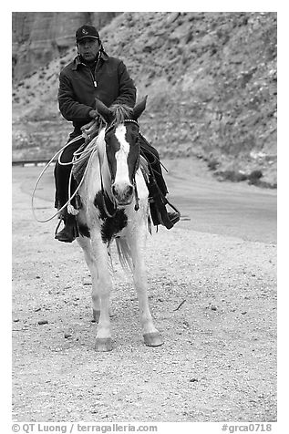 Havasu Indian on horse in Havasu Canyon. Grand Canyon National Park (black and white)