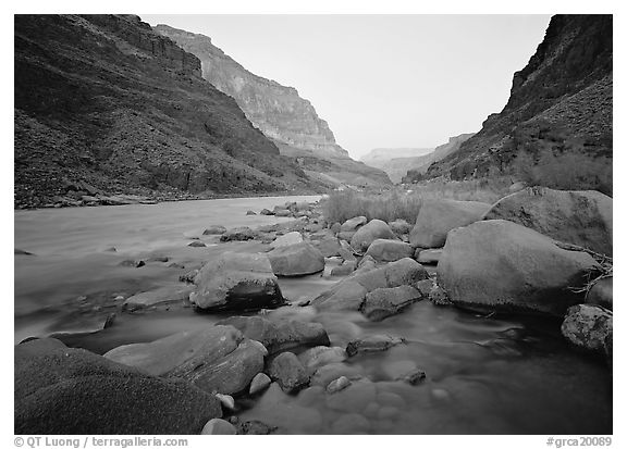 The Colorado River at Tapeats Creek,  dawn. Grand Canyon  National Park (black and white)
