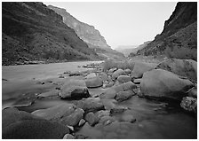 Colorado River at Tapeats Creek, dawn. Grand Canyon National Park ( black and white)