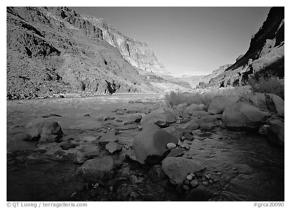 Bottom of Grand Canyon with Tapeats Creek joining  Colorado River. Grand Canyon National Park (black and white)
