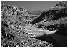 Colorado River at  bottom of  Grand Canyon. Grand Canyon National Park, Arizona, USA. (black and white)