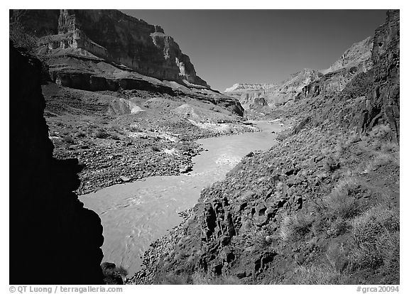 Colorado River with chocolate-colored waters in fall. Grand Canyon National Park (black and white)