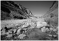 Confluence of Tapeats Creek and  Colorado River in autumn. Grand Canyon National Park ( black and white)