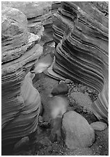 Red sandstone gorge carved by Deer Creek. Grand Canyon National Park, Arizona, USA. (black and white)
