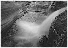 Cascade of Deer Creek. Grand Canyon National Park, Arizona, USA. (black and white)