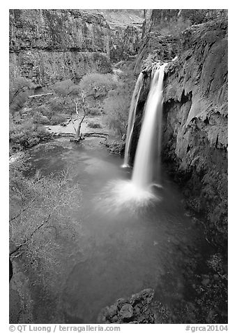 Havasu Falls, Havasu Canyon. Grand Canyon National Park (black and white)