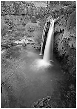 Havasu Falls, Havasu Canyon. Grand Canyon National Park, Arizona, USA. (black and white)