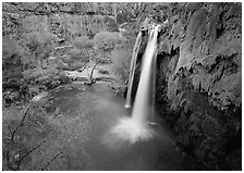 Havasu Falls, Havasu Canyon. Grand Canyon National Park ( black and white)