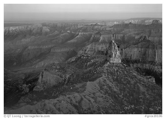 Mount Hayden from Point Imperial, sunset. Grand Canyon  National Park (black and white)