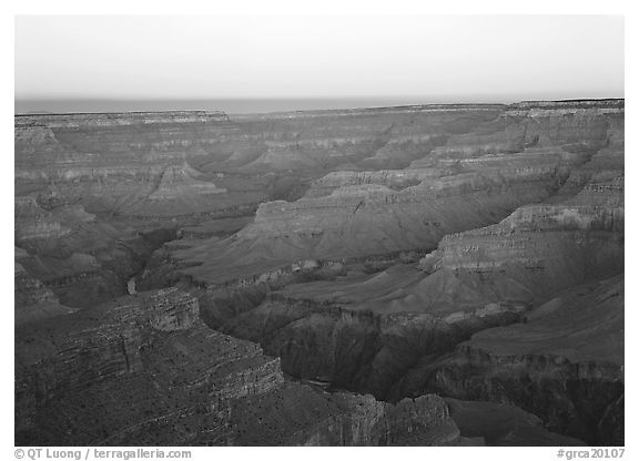 Ridges at dawn. Grand Canyon  National Park (black and white)